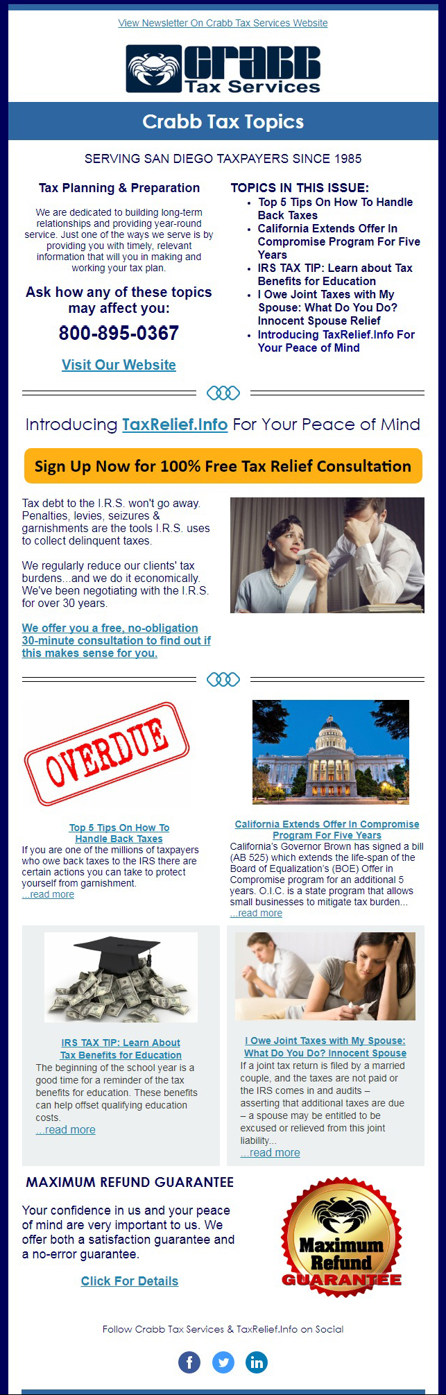 Crabb Tax October 2017 Newsletter