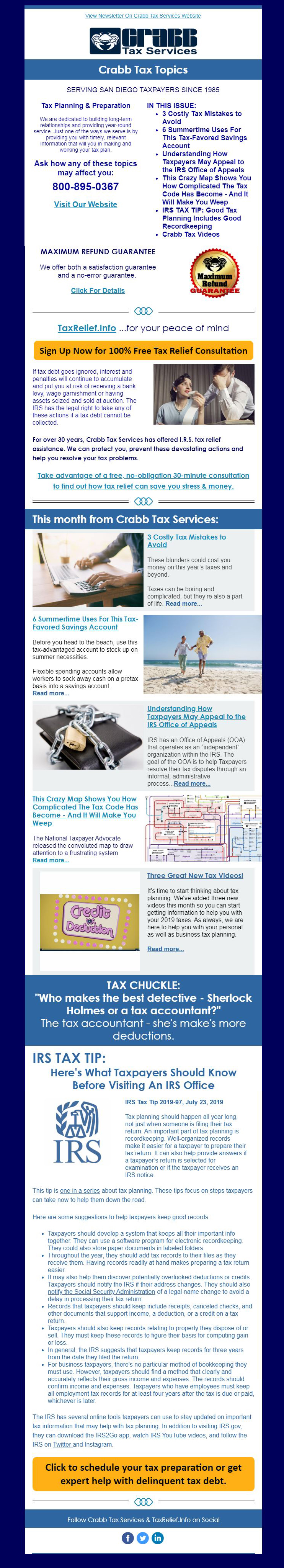 Crabb Tax Services July 2019 Newsletter